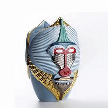 Moderno macaco vaso escultura artigo decorativo cabeça máscara estátua flor decoração para casa qin013