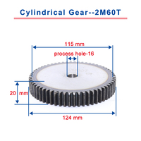 1piece 2M60T spur gear teeth outer diameter 124mm cylindrical gear process hole 16mm flat gear 45#carbon steel total height 20mm Gears     -