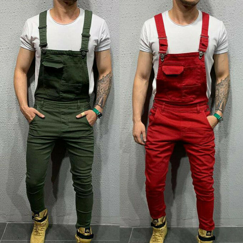 Men's Trend Bib Fashion Male Denim Dungaree Bib Overalls Jumpsuits Moto Biker Jeans Pants Trousers Boy House Work Indoor Dress