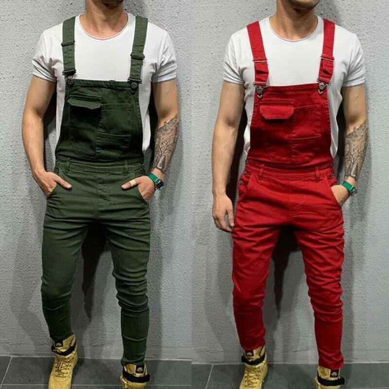 Men's Trend Bib Fashion Male Denim Dungaree Bib Overalls Jumpsuits Moto Biker Jeans Pants Trousers Boy House Work Indoor Dress
