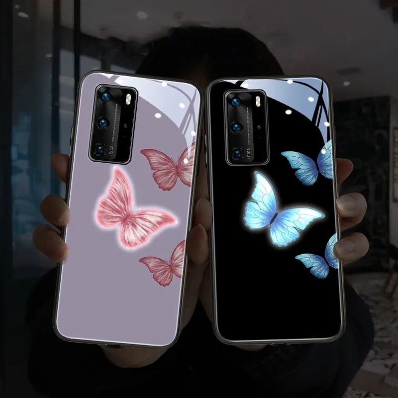 For Huawei P40 Pro P30 pro P20 LED Flash Call Light Luminous Phone Case Mate 20 Pro Mate 30 pro butterfly tempered glass cover