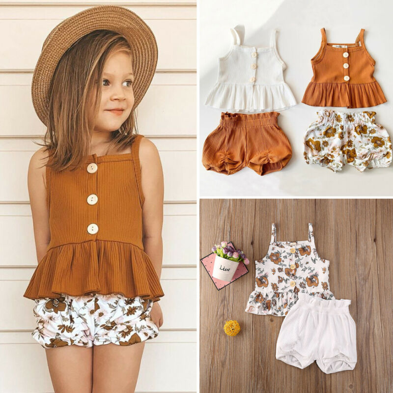 2Pcs Kids Baby Girl Clothes Sets 1-5Y Knit Single Breasted Sleeveless Tops Flower Shorts Pants Outfit Set