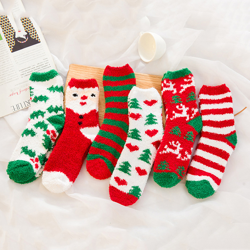 1pair Women Socks Cute Cartoon Christmas Socks Autumn Winter Comfortable Cotton Warm Socks for Women Santa Claus Deer Funny Sock