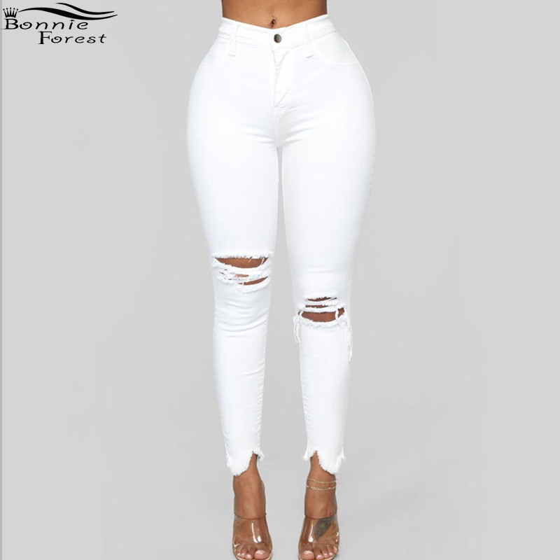 Bonnie Forest Casual Ripped Holes White Skinny Capris Jeans Sexy Distressed Jeans High Waist Pencil Denim Pants Trousers