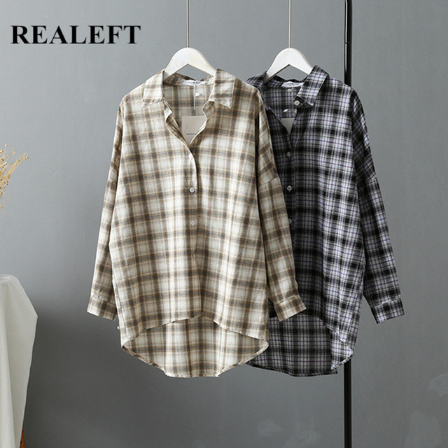 REALEFT 2019 New Autumn OL Style Vintage Plaid Women's Blouse Shirts Chic Long Sleeve Button Female Loose Blouses Office Lady 1