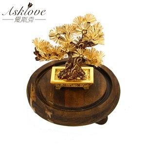 Image 1 - פנג שואי דקור מזל עושר קישוט 24k זהב לסכל אורן עץ זהב מלאכות משרד שולחן העבודה מזל קישוטי עיצוב הבית מתנות