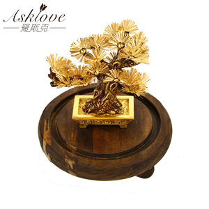 Image 1 - Feng shui Decor Lucky Wealth Ornament 24k Gold Foil Pine Tree Gold Crafts Office Desktop Lucky Ornaments Home Decoration Gifts