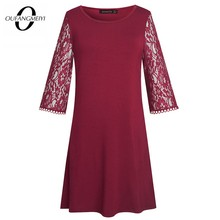 Casual Chic Lace Patchwork Loose One Piece Vintage O Neck Elegant Party Dress EA174