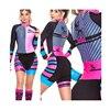 Das mulheres longas calças Ciclismo Skinsuit Maillot Ropa ciclismo Triathlon curto de Manga comprida Casal Bicicleta Jersey define Macacão 25