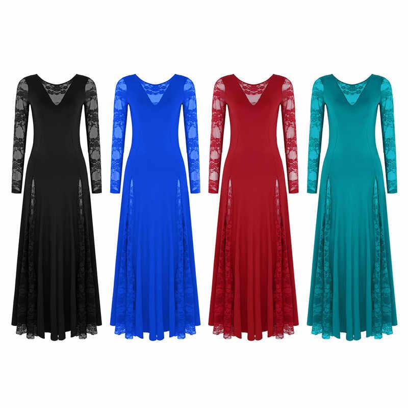 Mujeres señoras de manga larga de encaje de empalme de vals de Tango de baile moderno Vestido largo de Swing baile de graduación baile Quickstep vestido Flamenco