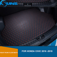 Rear Trunk Floor Mats For Honda Civic 2016 2017 2018 Leather Rear Cargo Trunk Floor Mats Car Styling SUNZ for honda civic left drive firm pu leather full car floor mats black grey beige non slip custom made waterproof carpets page 7
