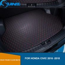 цена на Rear Trunk Floor Mats For Honda Civic 2016 2017 2018 Leather Rear Cargo Trunk Floor Mats Car Styling SUNZ