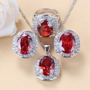 Image 2 - Conjunto de joyas grandes para novia, collar y pendientes de granate rojo Natural, plata 925, bisutería de boda, joyería para mujer, caja de regalo