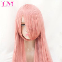 "LiangMo Long straight anime wig black purple pink blue sliver gray blonde white orange brown 100 cm 38"" synthetic hair wig(China)"