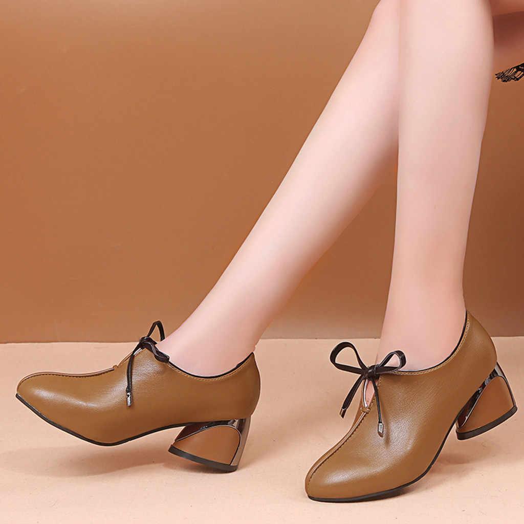 PU หนังรอบข้อเท้าส้น Bowknot ผู้หญิงสุภาพสตรีแฟชั่น Casual Pointed Toe Lace Up ส้นสูงหนังรองเท้า