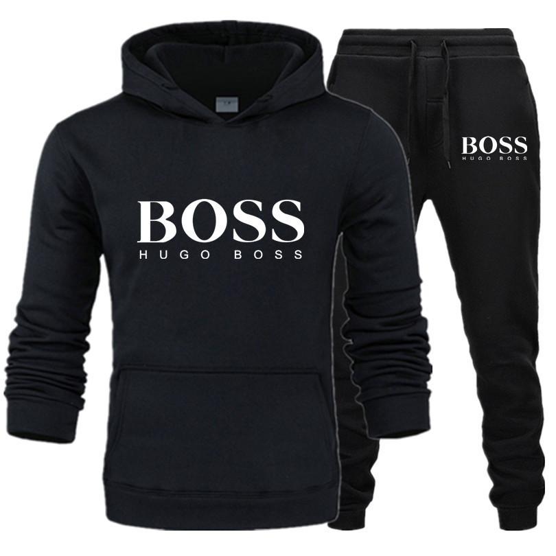 Men's Boss Letter Print Sportswear Sets Fashion Tracksuits Men Hoodies And Long Pants 2019 Winter Casual Sport Suits Men Clothes