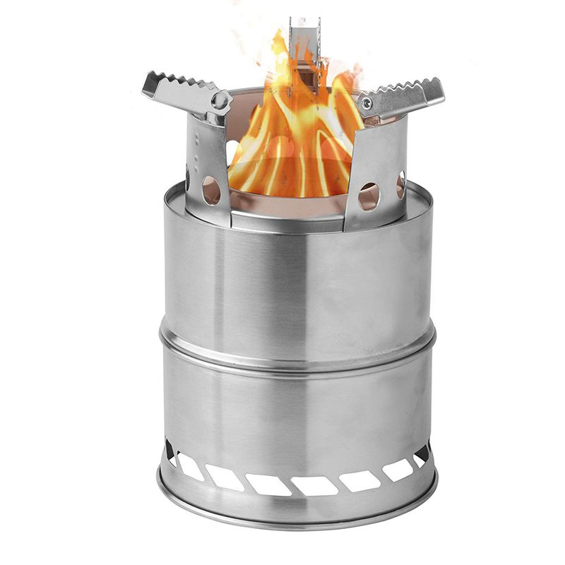 Camping Wood Stove Survival Foldable Portable Stove, Made Of Lightweight Stainless Steel Easy Fuel With Twigs Leaves Solidified image