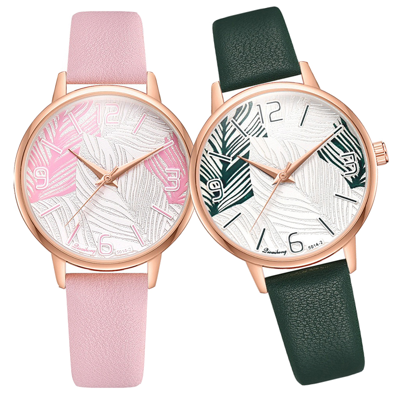 Women's Watches Ladies Watches Elegant Classics Large Dial PU Leather Belt Leaves Pattern Quartz Wrist Watch Watches
