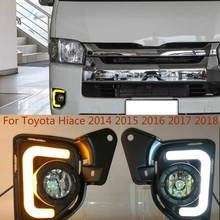 Car 2pcs LED 12V ABS Car fog Lamp DRL Daytime Running Light For Toyota Hiace 2014 2015 2016 2017 2018 with Turn Signal car stlying led car drl daytime running lights with fog lamp hole for sylphy 2014 2015 2016 2pcs