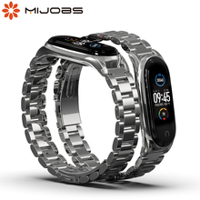 For Mi Band 5 Strap Wrist Bracelet for Xiaomi Mi Band 4 Metal Screwless Stainless Wristbands for Miband 3 4 5 NFC Global Version