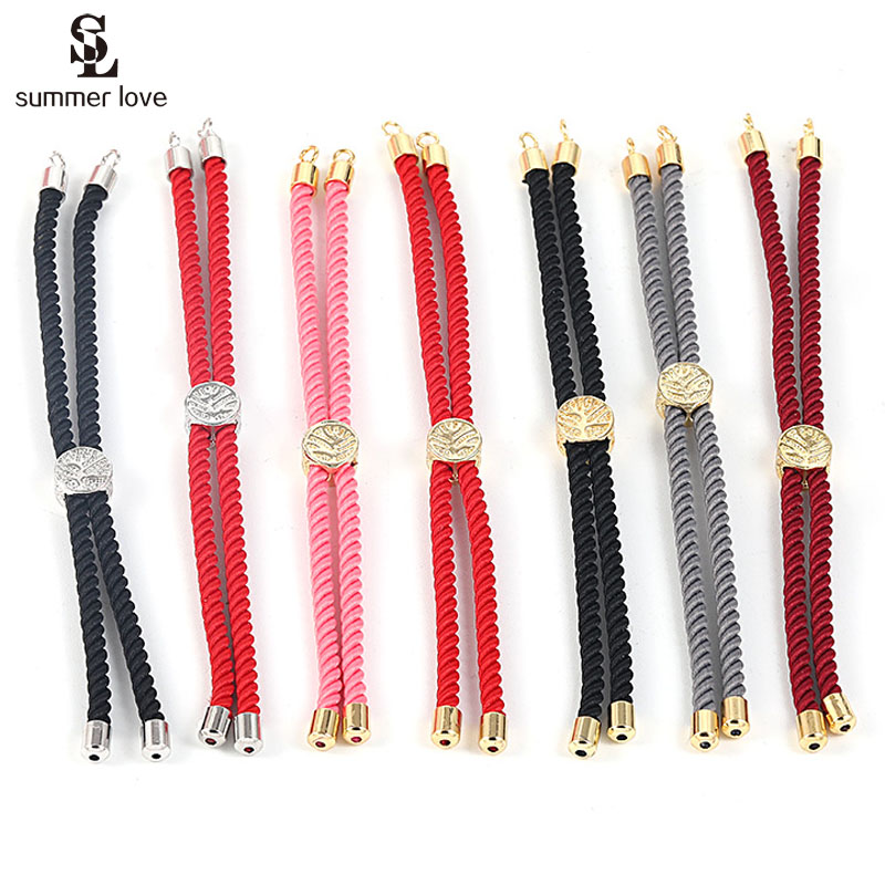 Colorful Cord Chain Bracelet Connectors Adjustable Braided Red Rope For DIY Bracelets Jewelry Making Findings