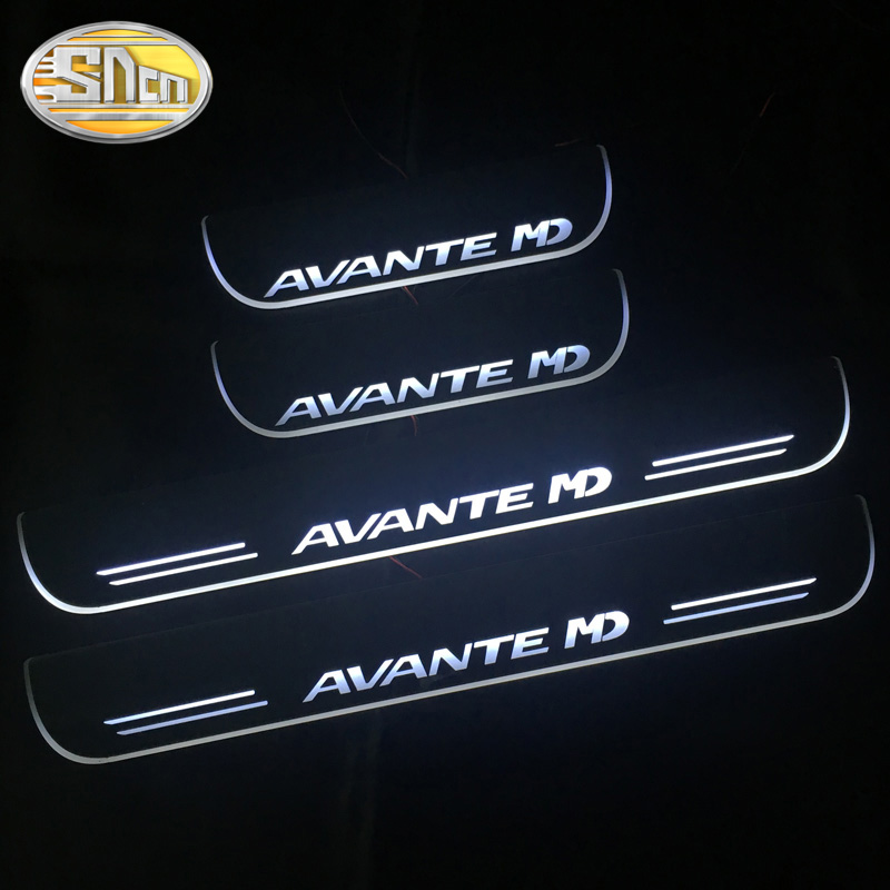SNCN 4PCS Acrylic Moving LED Welcome Pedal Car Scuff Plate Pedal Door Sill Pathway Light For Hyundai Avante MD 2011 - 2015