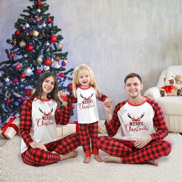 Christmas Family Pajamas Set Christmas Clothes Parent-child Suit Home Sleepwear Cotton Baby Kid Dad Mom Matching Family Outfits 4