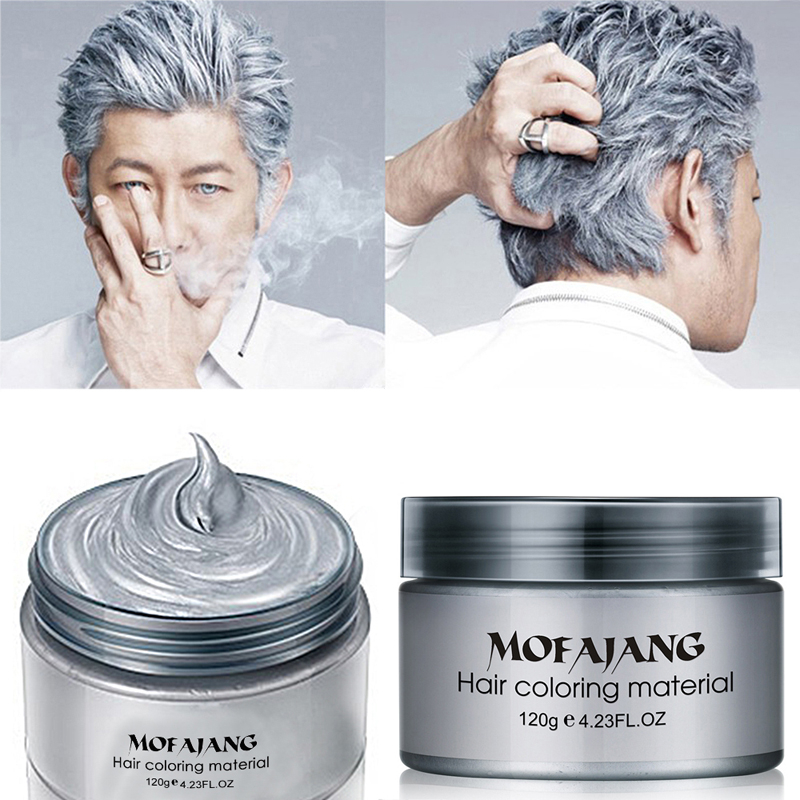 MOFAJANG Hair Color Styling Promades Wax Silver Ash Grey Hold Temporary Hair Dye Gel Mud Easy Wash Hair Coloring Wax 120g
