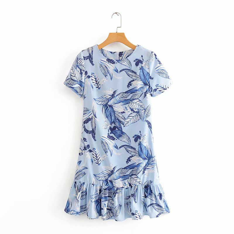 New 2020 women fashion o neck short sleeve printing mini dress chic hem pleat ruffles vestidos female casual slim dresses DS3598