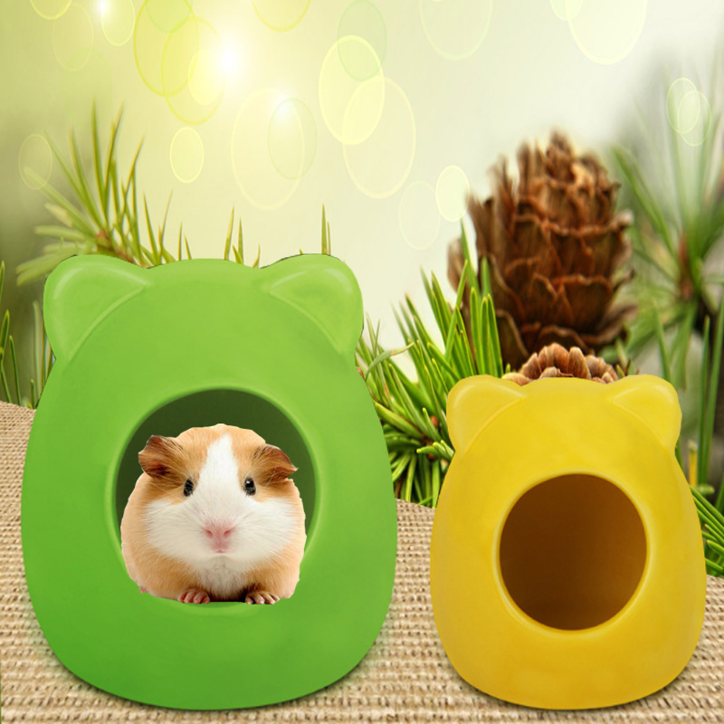 Hamster Cute Bear Head Cage Small Pet Ceramic House Sleeping Nest Pet Bed Rat HamsterToys Cage For All Seasons HouseAccessories