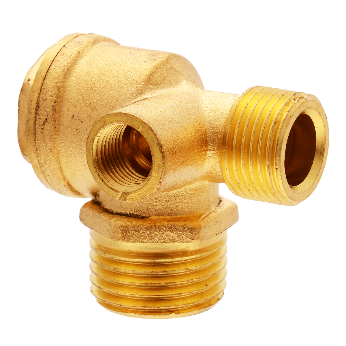 Brass 3 Port Air Compressor Valve 90 Degree Air Compressor Check Valve Threaded  For Central Pneumatic Tool Connector Valves