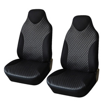 AUTOYOUTH 2PCS Front Seat Covers Black Sports Seat Covers PVC Fabric Car Seat Cover Universal Interior Accessories For TOYOTA