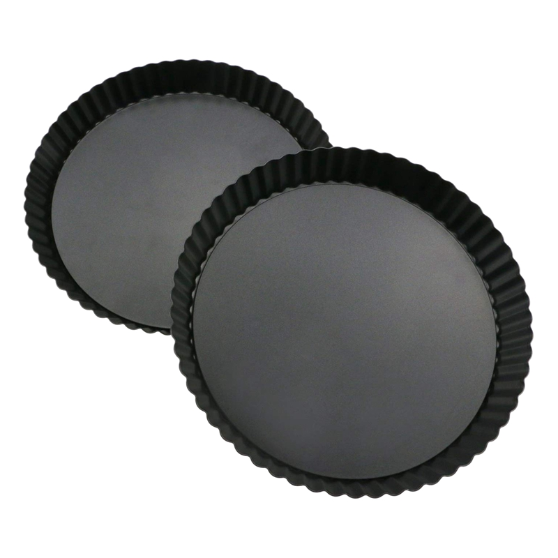 2 Pack 9 Inches Non-Stick Removable Loose Bottom Quiche Tart Pan, Tart Pie Pan, Round Tart Quiche Pan With Removable Base