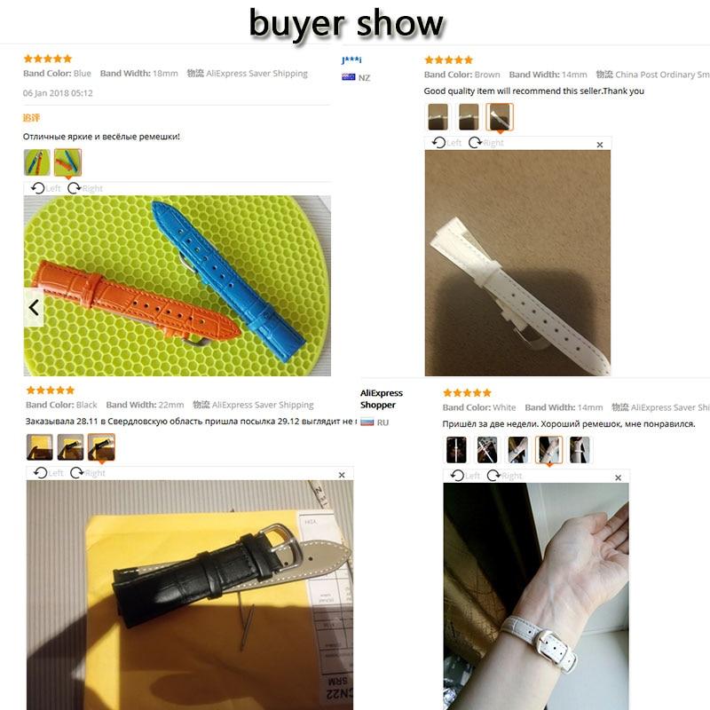 Armband med äkta läderband 22mm 18mm 20mm 14mm 16mm 19mm 12mm - Tillbehör klockor - Foto 6