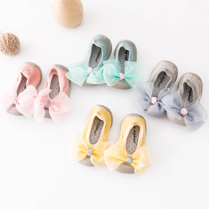 Spring New Bow Children's Floor Socks Rubber Soles Toddlers Baby Shoes Socks Anti-skid Baby First Walkers Newborn Girl Shoes