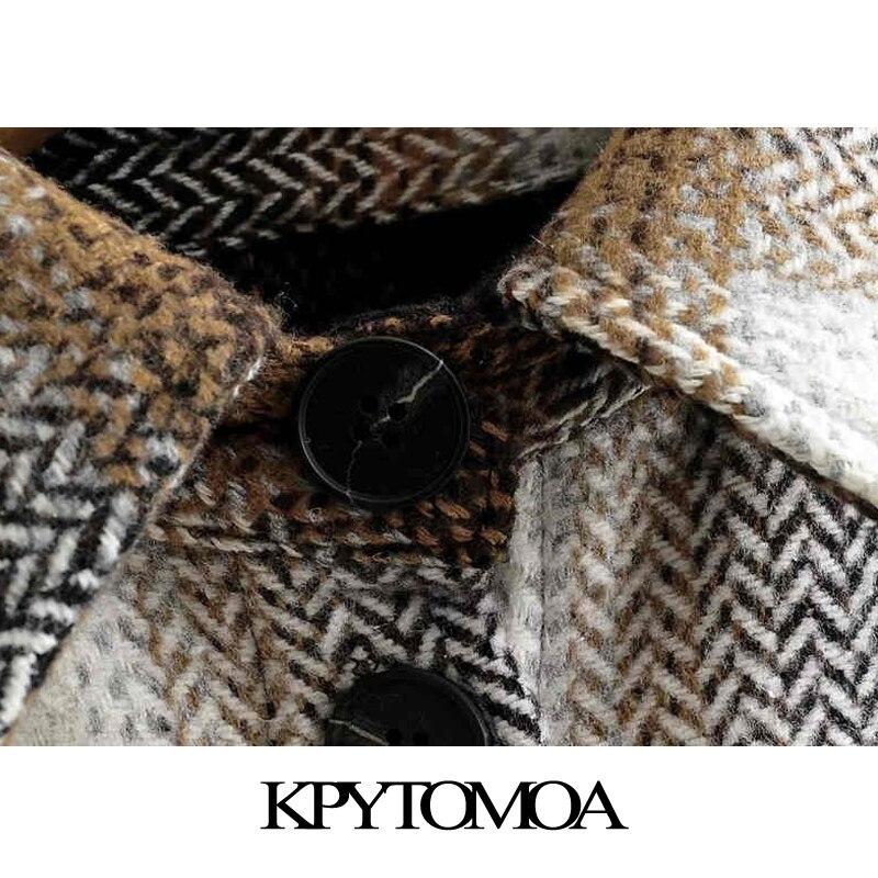 Vintage Stylish Plaid Oversized Woolen Jacket Coat Women 2020 Fashion Long Sleeve Pockets Loose Female Outerwear Chic Tops