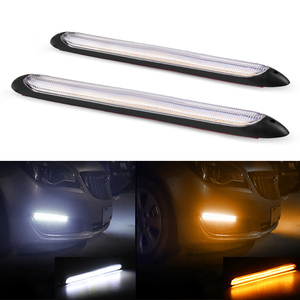 2Pcs Led Car DRL Daytime Running Lights Waterproof Universal DC 12V Auto Headlight Sequential Turn Signal Yellow Flow Day Light