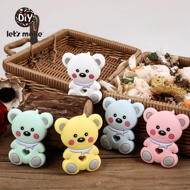 Let's Make Silicone Beads Charms Rodent Teether Bear 5pcs BPA Free Cartoon Pendant Wholesale Teething Toys Baby Goods Sensory