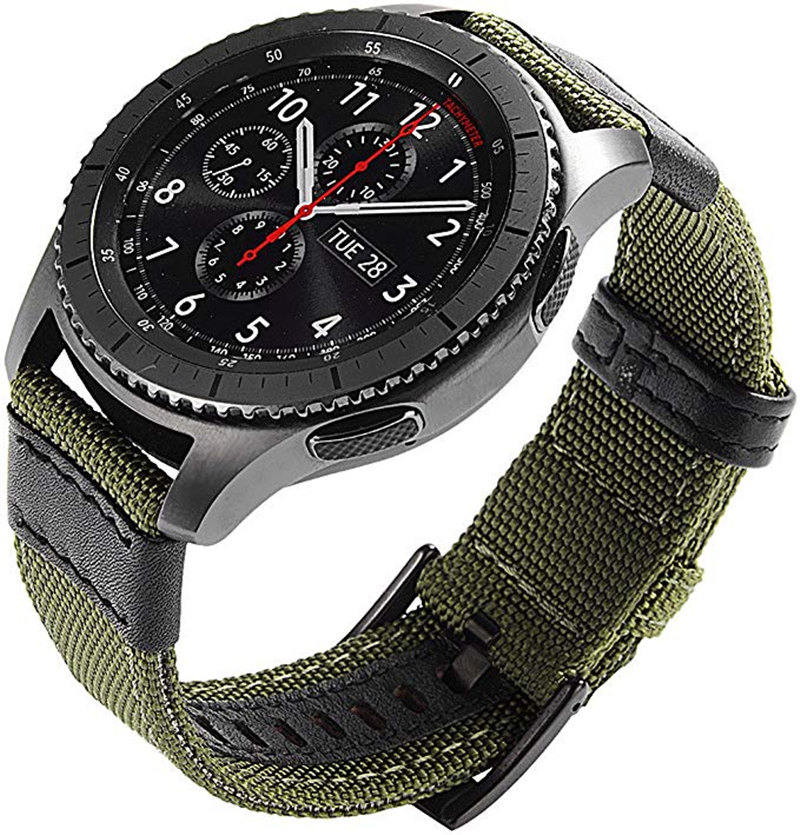 For Samsung Galaxy Watch 46mm Gear S3 Frontier Classic Band 22mm Nylon With Leather Strap Wristband For Huawei Watch GT Bands