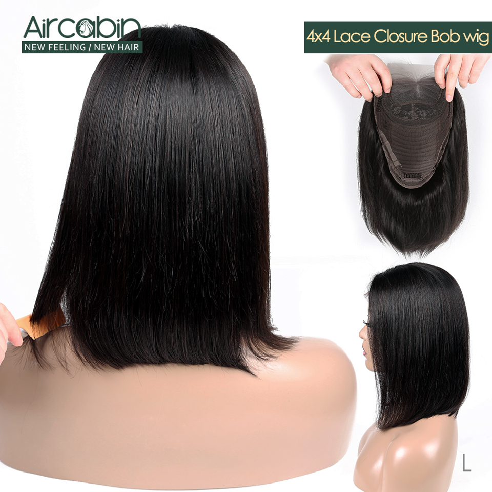 Aircabin 4x4 Short Lace Closure Human Hair Wigs 8-16 Bob Brazilian Wig For Black Women Non Remy