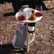 Outdoor Foldable Wine Table With Round Desktop Portable Mini Wooden Easy To Carry Rack Picnic Party Travel Tool Wine Rack