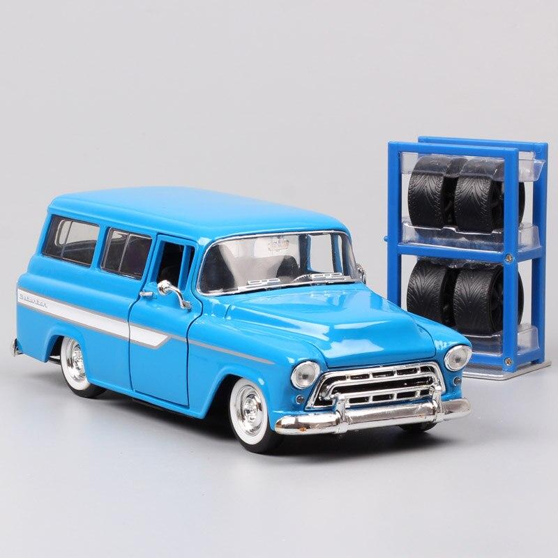1/24 Jada Bigtime classics GM 1957 Chevy Chevrolet súb SUV deportes Diecasts vehículos coches de metal modelos báscula juguetes neumáticos gratis Jada-simulador de Metal clásico, juguete de aleación fundida, coches de juguete clásicos para niños, colección de regalos de cumpleaños 1:24