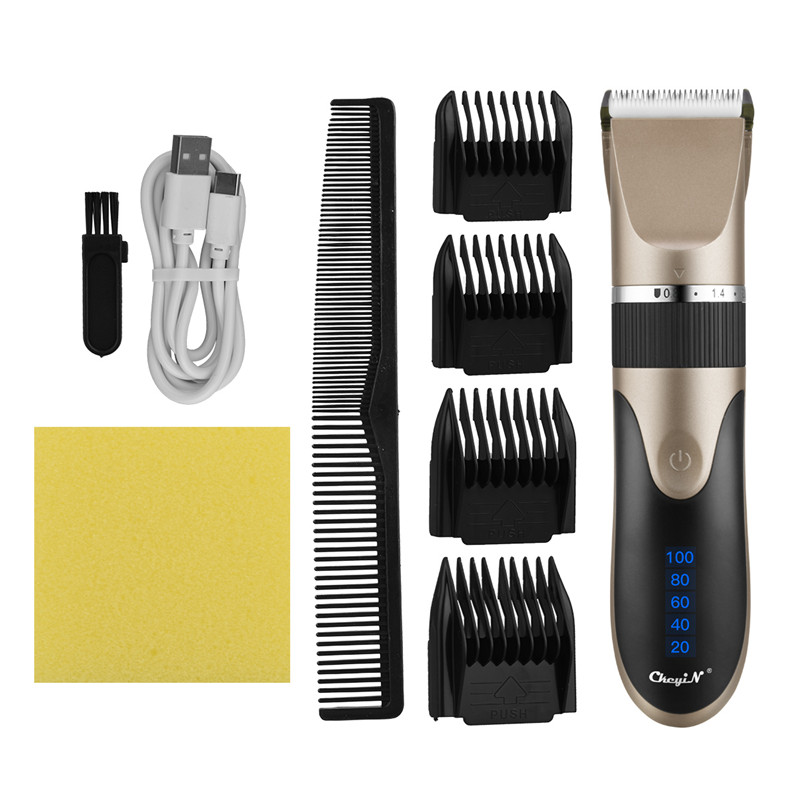 Professional Hair Clipper Rechargeable Beard Trimmer Men Electric Hair Cutting Titanium Ceramic Blade Low Noise Barber Machine53