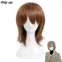 цена на Ktip Up Persona 5 Goro Akechi Short Straight Cosplay Wig For Man Anime Costume Party Brown Heat Resistant Synthetic Hair Wig