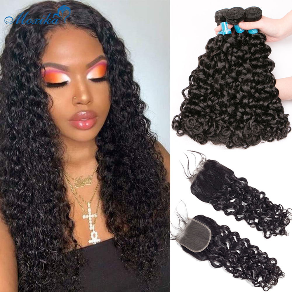 Moxika Water Wave Bundles With Closure 100% Human Hair Bundles With Frontal Remy Brazilian Hair Weave Bundles With Closure 8-26