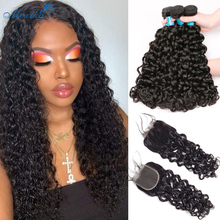 """Moxika Water Wave Bundles With Closure 100% Human Hair Bundles With Frontal Remy Brazilian Hair Weave Bundles With Closure 8 26"""""""