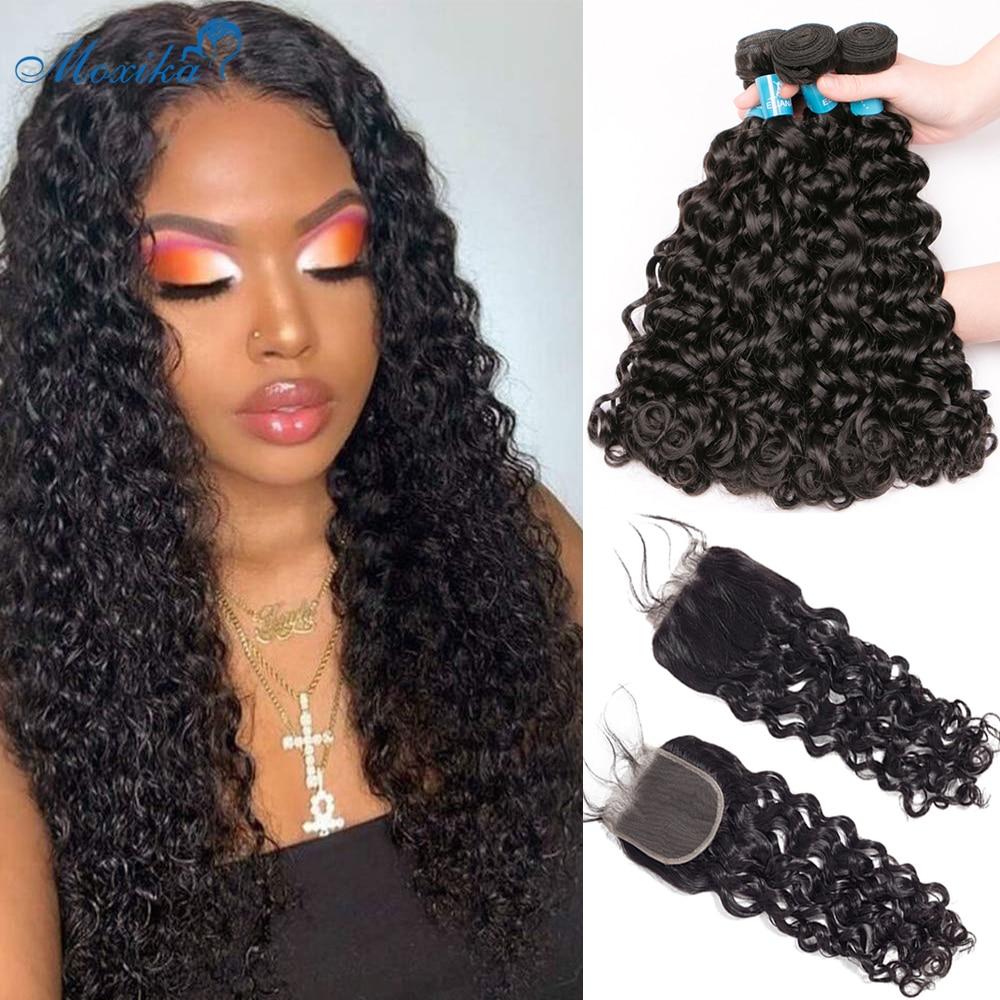 Moxika onda de água pacotes com fecho 3 pçs cabelo brasileiro tecer pacotes com fechamento remy feixes de cabelo humano com fechamento