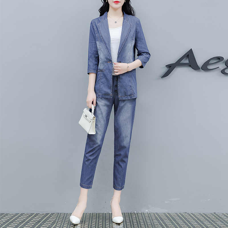 Denim Top and Jacket Set Pant Suits for Women Outfits Plus Size Large Two Piece Co-ord Sets 2019 Winter Autumn Blue Clothing