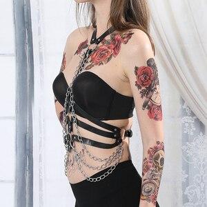 Image 4 - Arnés con correa de cuero para mujer, lencería para Bondage corporal, liguero, arnés corporal, cinturón de cadena, sujetador, jaula, Punk, gótico