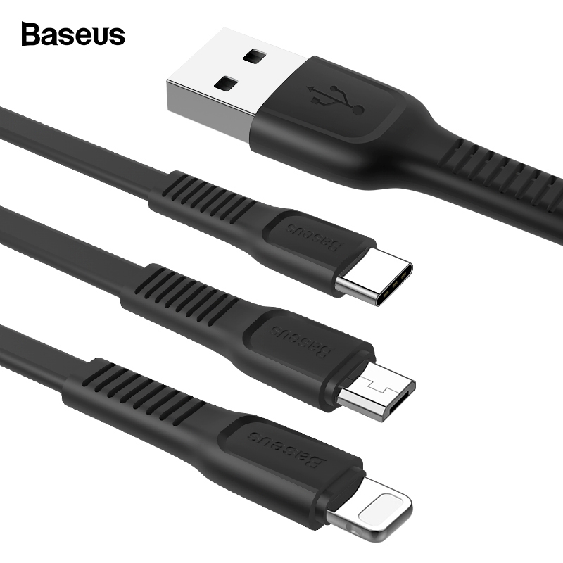 Baseus USB Cable For iPhone Charging Charger Data Cable USB Type C Type c Cable Micro USB Cable For Android Phone USB Wire Cord-in Mobile Phone Cables from Cellphones & Telecommunications on AliExpress